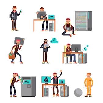 Hackers criminosos quebrando contas bancárias de computador.
