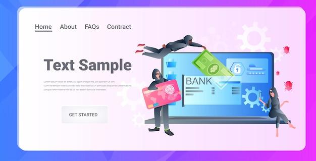 Hackers quebrando ladrões de aplicativos de banco on-line usando máscaras roubando dinheiro carteira de internet sob ataque conceito de proteção ruim horizontal completo cópia espaço ilustração