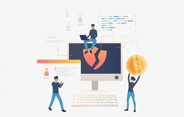 Hackers roubando dados pessoais e dinheiro