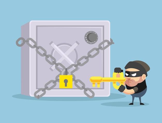 Hacking bank safe flat cartoon ilustração