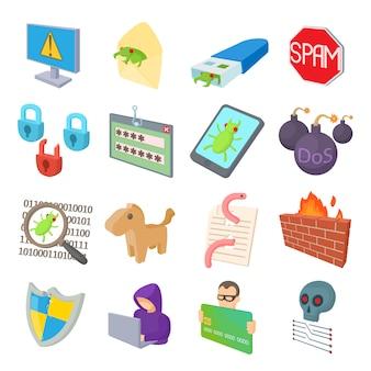 Hacking icons set em estilo cartoon