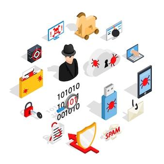 Hacking icons set, estilo 3d isométrico
