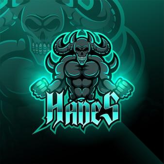 Hades esport mascote design de logotipo