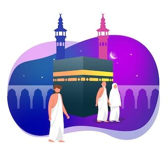 Hajj saudação muçulmana em torno de ilustração vetorial islâmica de kaaba