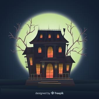 Halloween assombrado fundo de casa com luzes gradientes