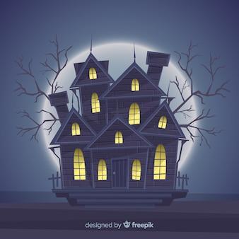 Halloween assombrado fundo de casa com luzes gradientes Vetor Premium