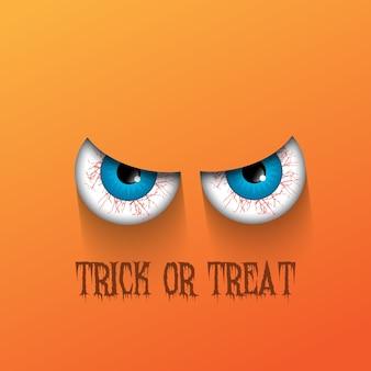 Halloween assustador com olhos malignos