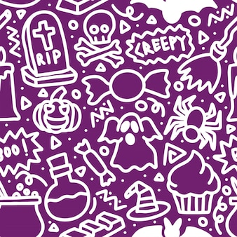 Halloween assustador linha mono doodle padrão sem emenda