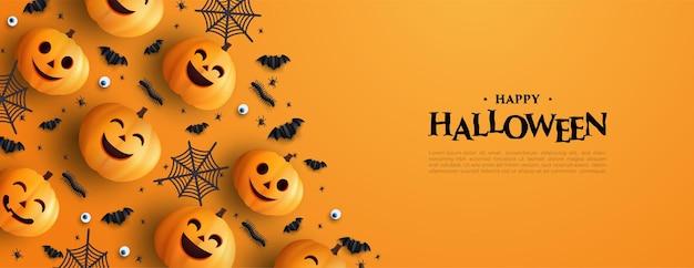 Halloween background 3d ilustração de abóbora e morcego