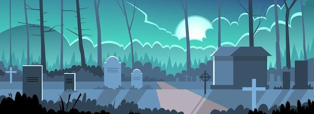 Halloween banner cemetery cemitério grave stone night