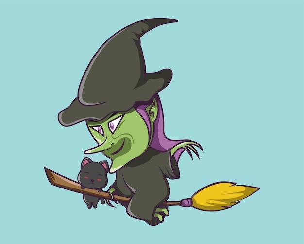 Halloween brilhante e assustador voando em uma vassoura
