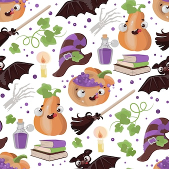Halloween broom pumpkin funny cartoon hand drawn seamless pattern