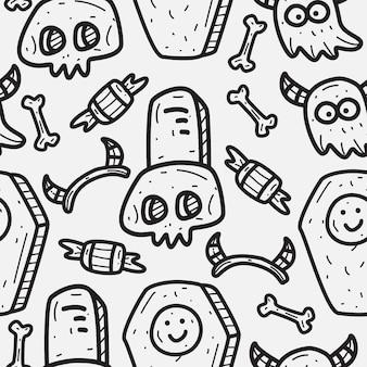 Halloween cartoon doodle pattern design desenhado à mão
