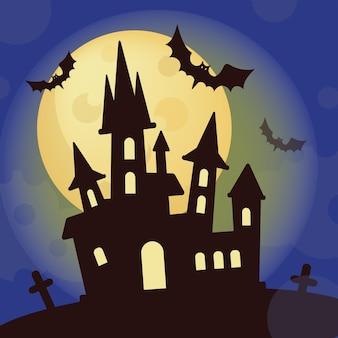 Halloween castle mystic holiday cartoon ilustração de morcego desenhada à mão para impressão
