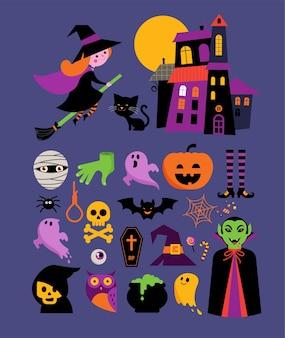 Halloween - coleção de ícones bonitos do vetor