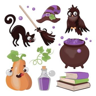 Halloween collection desenhada à mão design plano cartoon clip art mágica de terror