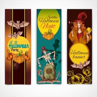 Halloween colorido banners verticais