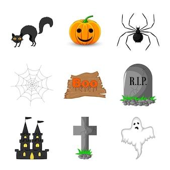 Halloween com atributos tradicionais em fundo branco. estilo de desenho animado. vetor.