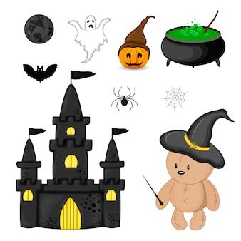 Halloween com atributos tradicionais. estilo dos desenhos animados. vetor.