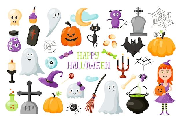 Halloween com elementos bonitos dos desenhos animados de um feriado assustador. ilustração vetorial