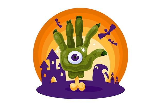 Halloween com mão de zumbi na ilustração de casa assombrada