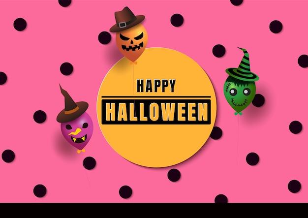 Halloween com monstros de balão em fundo rosa de bolinhas