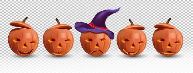 Halloween conjunto de abóbora feliz e malvada com um chapéu