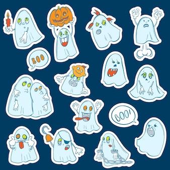 Halloween conjunto de adesivos fantasmas