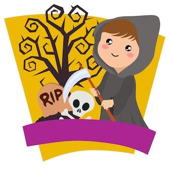 Halloween crianças grim reaper fantasia tema