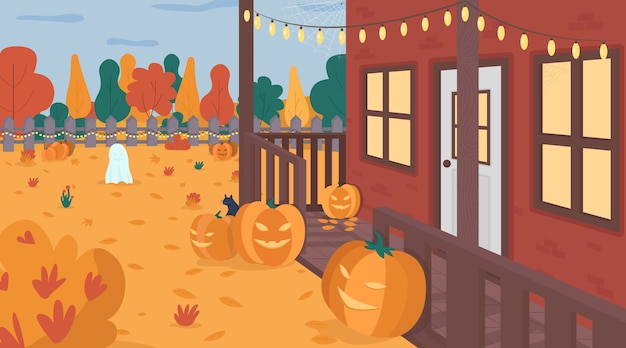 Halloween decorado ilustração de cor plana de quintal. abóboras assustadoras sazonais no gramado. alpendre de casa e guirlanda de luz. paisagem festiva em 2d de quintal de casa com fundo de outono