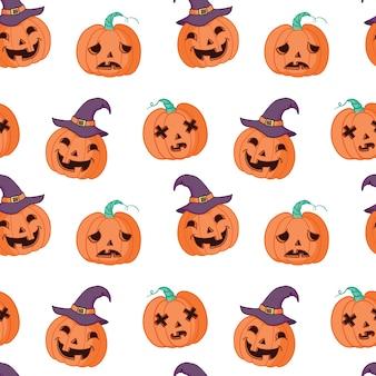 Halloween desenho padrão sem emenda de abóbora