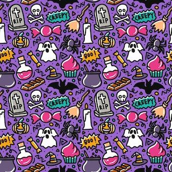 Halloween doodle padrão sem emenda