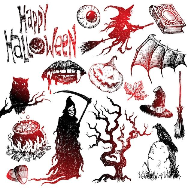 Halloween e conjunto desenhado à mão