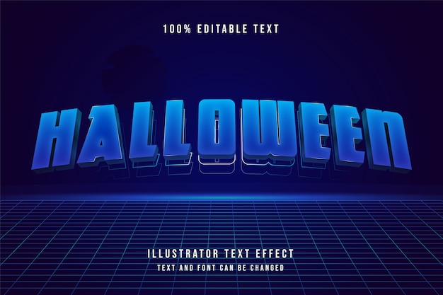 Halloween, efeito de texto editável 3d.