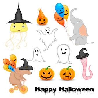Halloween em conjunto com animais fofos e atributos tradicionais. estilo dos desenhos animados. vetor.