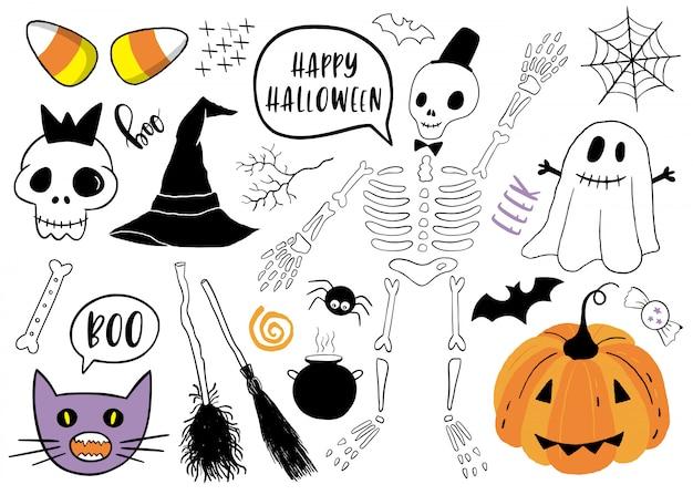 Halloween em conjunto com elementos.