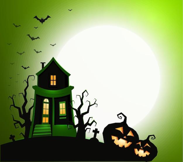 Halloween feriado banner noite festa convite ilustração vetorial casa com fantasma assustador abóbora