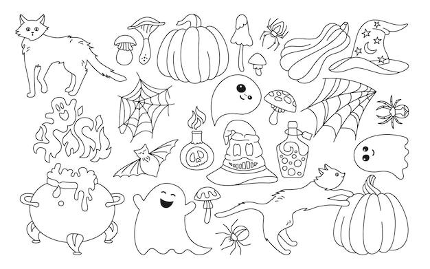 Halloween feriado horror linha cartoon conjunto gato preto abóbora chapéu aranha web design de doodle simbólico