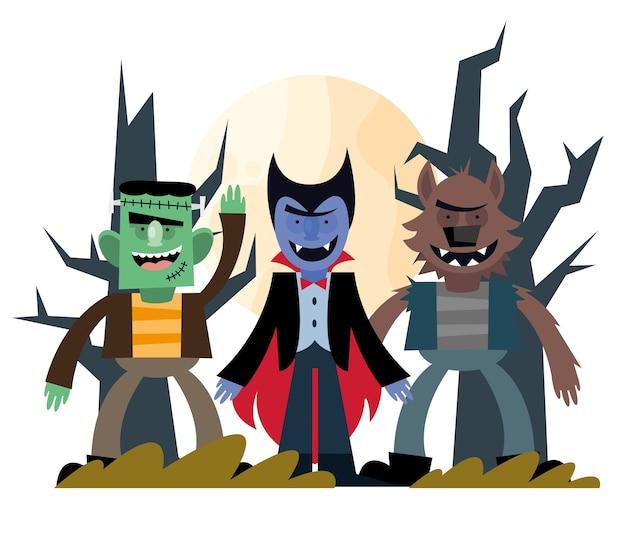 Halloween frankenstein vampiro e desenho de lobisomem, tema assustador