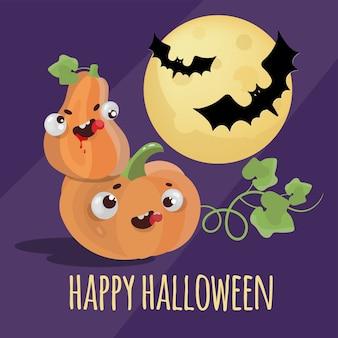 Halloween happy holiday bat pumpkin cartoon desenhado à mão design plano sobre fundo escuro