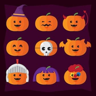 Halloween icon abóbora e bruxa chapéu conjunto ilustrações