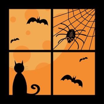 Halloween ilustração janela morcegos lua gato teia de aranha e aranha