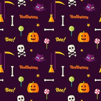 Halloween impressão padrão sem emenda. ilustração vetorial. doçura ou travessura.