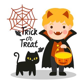 Halloween kids costume party com gato preto.