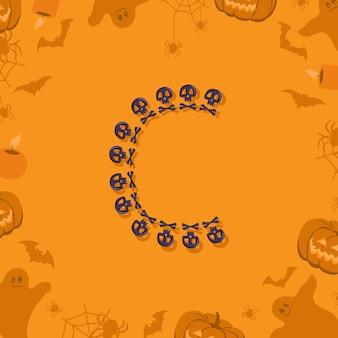 Halloween letra c de caveiras e ossos cruzados para projetar fonte festiva para feriado e festa em orang ...