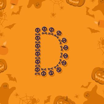Halloween letra d de caveiras e ossos cruzados para design festivo fonte para feriado e festa em orang ...