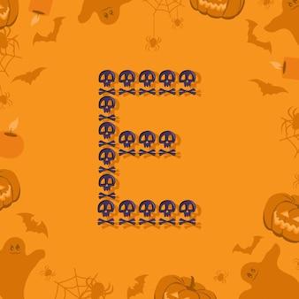 Halloween letra e de caveiras e ossos cruzados para a fonte festiva de design para feriado e festa em orang ...