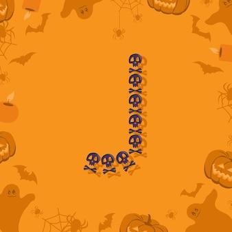 Halloween letra j de caveiras e ossos cruzados para design festivo fonte para feriado e festa em orang ...