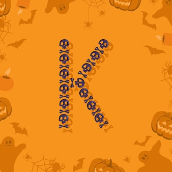 Halloween letra k de caveiras e ossos cruzados para projetar fonte festiva para feriado e festa em orang ...