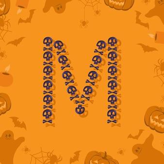 Halloween letra m de crânios e ossos cruzados para projetar fonte festiva para feriado e festa em orang ...